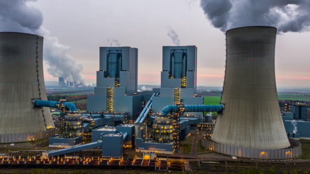 Aerial of large coal burning power plant