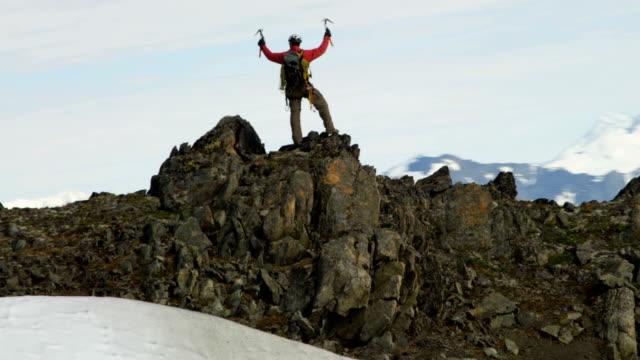 Aerial of male mountain climber, Alaska, USA