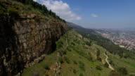 Aerial of Manara Cliff/ Upper Galilee, Qiryat shemona and Hula valley in background