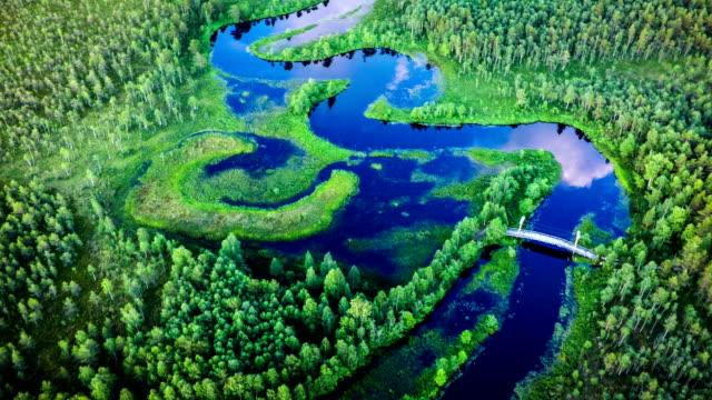 Luchtfoto van kronkelende rivier in Zweden