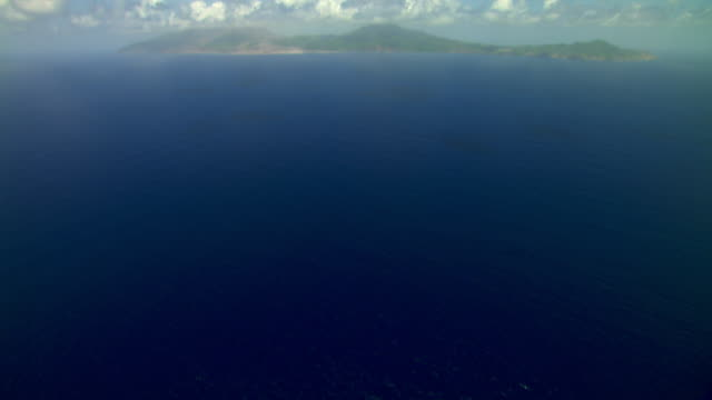 Aerial of Montserrat island in the Caribbean on a clear day.