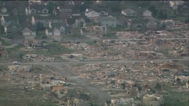 Aerial Of Neighborhood Destroyed By Tornado on November 18 2013 in Washington Illinois