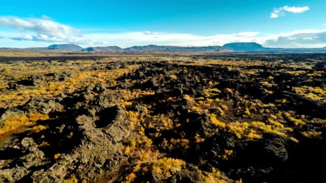 Aerial of old lava flow - Myvatn Iceland