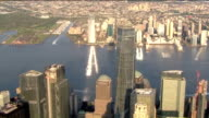 WPIX Aerial of One World Trade Center and surrounding buildings in New York City on Sept 11 2017on the 16th Anniversary of 9/11 Terrorist Attacks