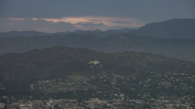 Aerial of panning over Hollywood Los Angeles CA, sunset