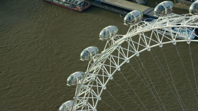 Aerial of passenger pods on London Eye