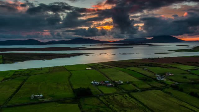 Aerial of patchwork landscape in Ireland at Sunset
