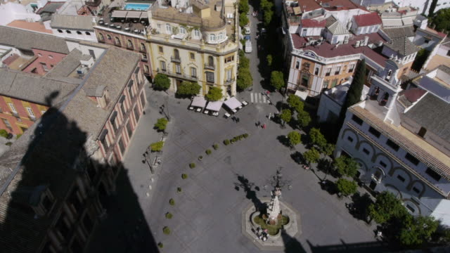 Aerial of Plaza in Seville, Spain