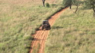 Aerial of Polaris off-road car in South Africa