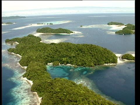 Aerial of Polynesian islands, Pacific Ocean