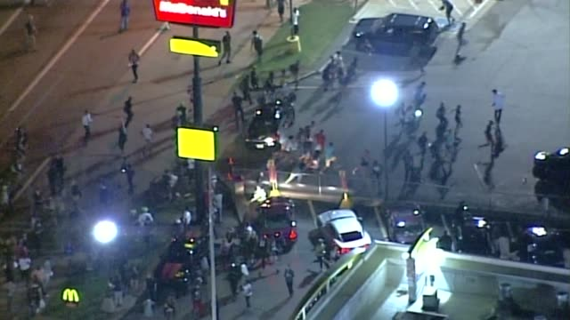 KTVI Aerial of protests continuing The Night After the first Anniversary of Mike Brown's death by police shooting in Ferguson on August 10 2015