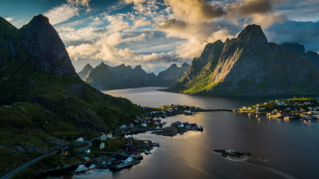 Aerial of Reine at sunset  - Lofoten Islands, Norway
