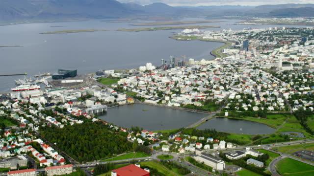Aerial of Reykjavik city Iceland