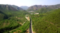 Aerial of Road in Mountain Area in China