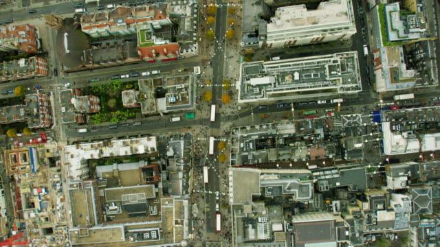 Aerial of rooftops of buildings in inner London