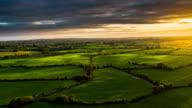 Aerial of rural landscape with farmland in Ireland