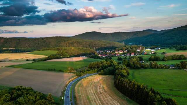 Aerial of rural landscape with fields an villages in Hesse, Germany