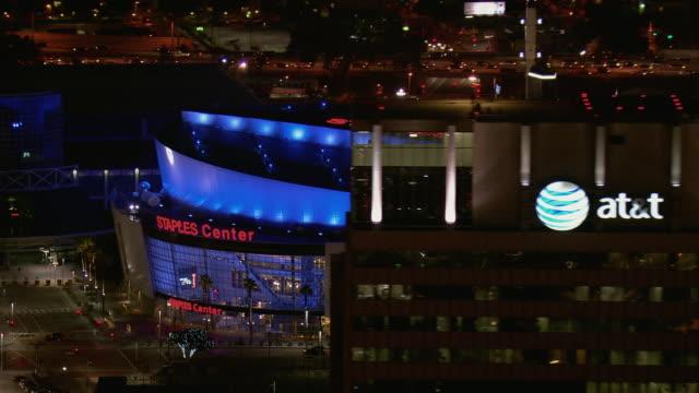 Aerial Of LA's Staples Center At Night