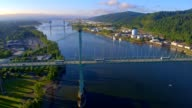 Aerial of St Johns Bridge, Portland, Oregon
