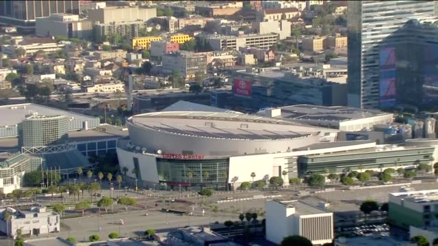 Aerial Of Staples Center During The Day on April 27 2011 in Los Angeles California