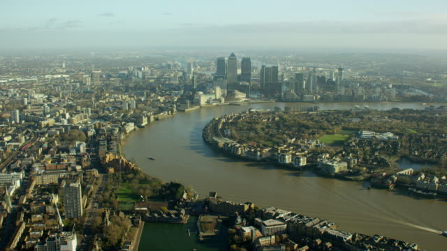 Aerial of the River Thames in London City