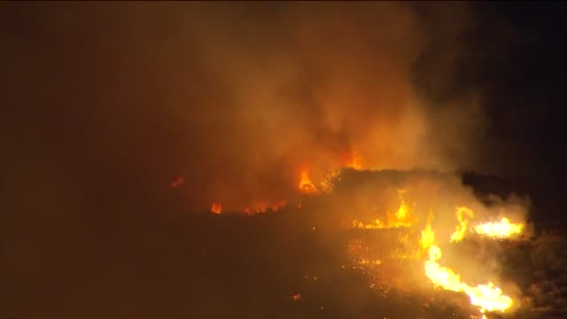 KTLA Aerial Of Wildire Burning At Night on May 03 2013 in Camarillo California