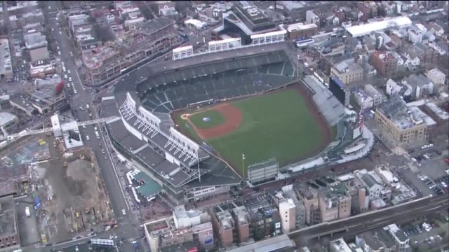 WGN Aerial of Wrigley Field Before Cubs 2017 Home Opener on April 10 2017