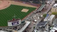 Aerial of Wrigley Field bleachers torn down for renovation and expansion of bleacher seating on Oct 16 2014 in Chicago