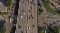 Aerial OH WS Rush hour traffic on 12 lane highway / Dallas, Texas, USA
