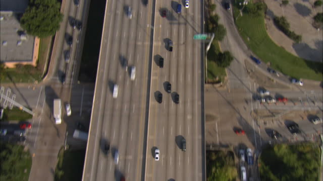 Aerial OH WS Rush hour traffic on 12 lane highway / Dallas, Texas, USA