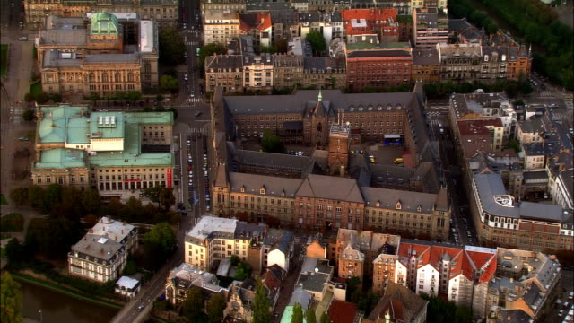Aerial WS Old buildings and surrounding city / Strasbourg, Alsace, France