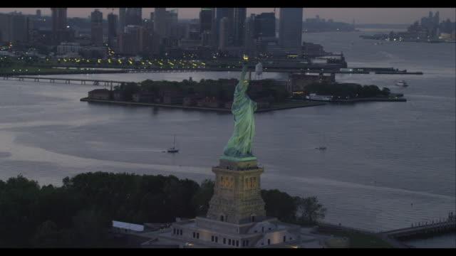 Aerial Orbit Statue of Liberty Reveal Downtown Manhattan