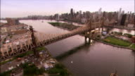 Aerial over 59th Street Bridge looking from Queens to Manhattan/ New York City