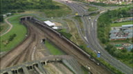 Aerial over Channel Tunnel Terminal / Kent, England
