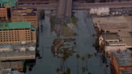 Aerial over flooded street and elevated roadway in the Gentilly neighborhood / New Orleans Louisiana