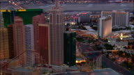Aerial over hotels and casinos on Las Vegas Strip / Las Vegas, Nevada