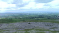 Aerial over limestone pavement and escarpment, Yorkshire Dales, UK
