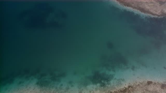 Aerial over Los Roques islands and reefs in Caribbean Sea / Venezuela