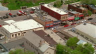 Aerial over main street in small town / Utah