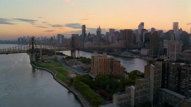 Aerial over Roosevelt Island and the Queensboro Bridge / New York City