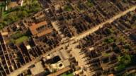 Aerial over ruins of Pompeii / Odeon Theatre / Italy