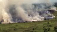 Aerial over smoke and wild fire, Uganda