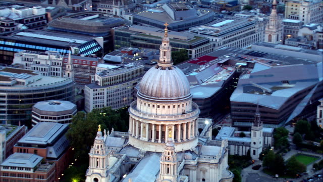 HD aerial over St Paul's Cathedral, London, UK