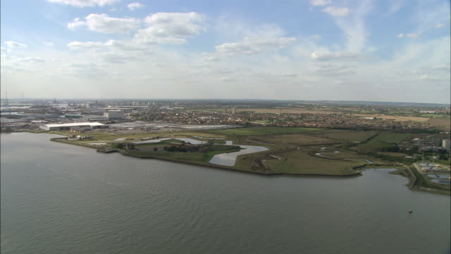 Aerial over the River Thames towards Tilbury Fort / Essex, England