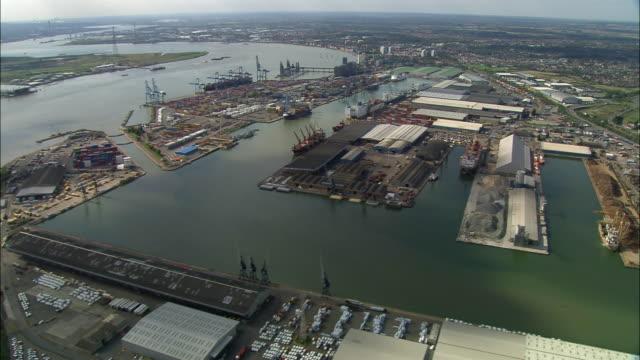 Aerial over Tilbury Docks / Tilbury, Essex, England
