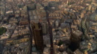 Aerial over Tower 42, Gherkin and surrounding buildings in financial center of London