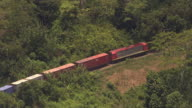 Aerial over train in forested mountains, Madagascar