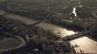 'Aerial Overhead tracking W/S Houses of Parliament, Westminster & London Eye'