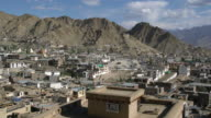 Aerial Panorama View Of The Town Of Leh, Ladakh During A Sunny Bright Day