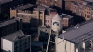 Aerial MS TS Paramount Water Tower and Backlot at Paramount Pictures / Hollywood, California, United States.
